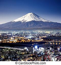 Mount Fuji. Fujiyama. Aerial view with cityspace surreal ...