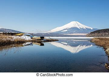 Mount Fuji Iced Yamanaka Lake