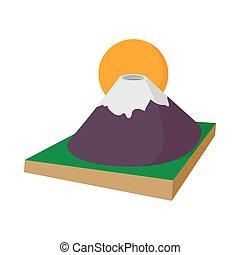 Mount Fuji icon, cartoon style