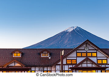 Mount Fuji in have snow in winter view back Japan Train ...