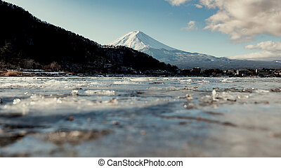 Mount fuji san with snow on top in winter at Lake ...
