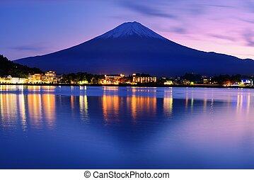 Mount Fuji at dusk near Lake Kawaguchi in Yamanashi...