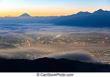 Mount Fuji Sunrise - aerial Mount Fuji with Suwako Lake...