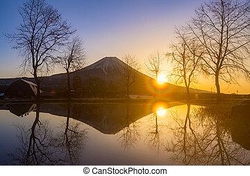 Mount Fuji Fujisan sunrise at Fumoto Japan