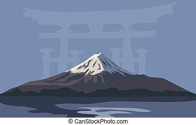Mount Fuji - Background illustration with Mount Fuji and...