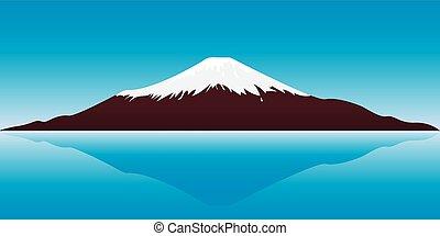 Mount Fuji - vector illustration of the Fuji Mountain -...