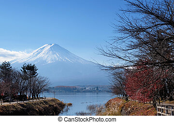 Mount Fuji view from around the Kawaguchi lake in Autumn
