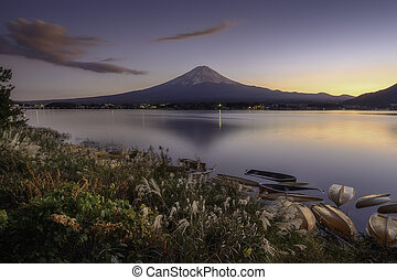 Mount Fuji view from lake Kawaguchiko the famous scenic attraction in Autumn