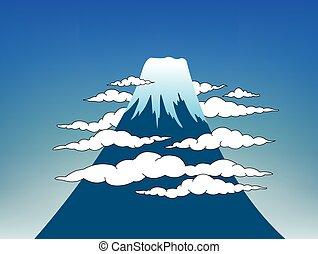Mount Fuji with sky - Illustration Mount Fuji surrounding...