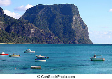 Mount Gower and boats