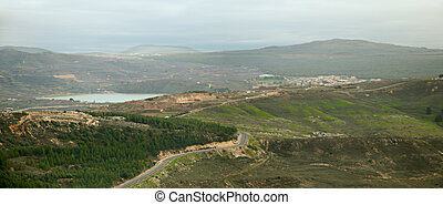 Mount Hermon, Golan Heights and Galilee . Spring . - Mount...