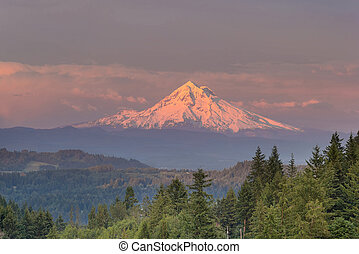 Mount Hood Alpenglow Sunset - Mount Hood evening alpenglow...