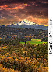 Mount Hood at Sandy River Valley in Fall