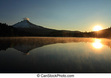 Mount Hood at sunrise - Sunrise on Mount Hood and Trillium...