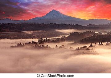 Mount Hood Foggy Sunrise