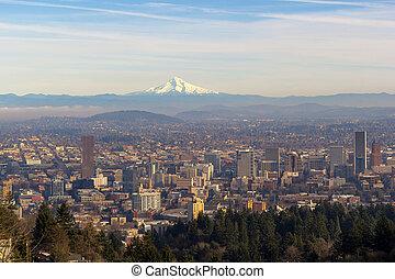 Mount Hood over City of Portland Oregon