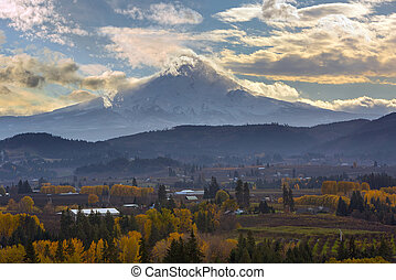 Mount Hood over Hood River Valley in Fall