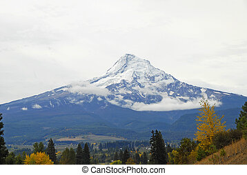 Mount Hood towering over the Valley Below