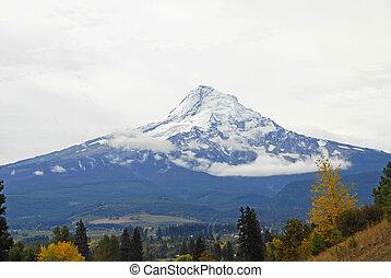 Mount Hood towering over the Valley Below