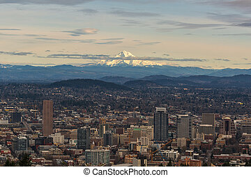Mount Hood View over Portland Cityscape