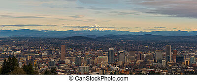 Mount Hood View over Portland Cityscape Panorama