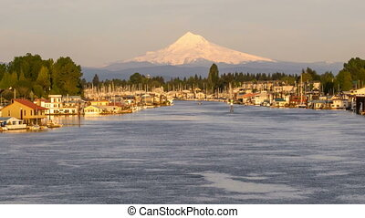 Mount Hood with Houseboats