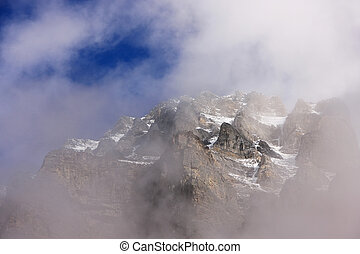 Mount Huber with low clouds, Yoho National Park, British...