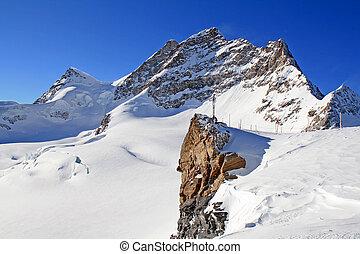 Mount Jungfrau as viewed from Jungfraujoch, Switzerland.