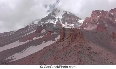 Mount Kazbek, is a dormant stratovolcano of Caucasus, 5.047...