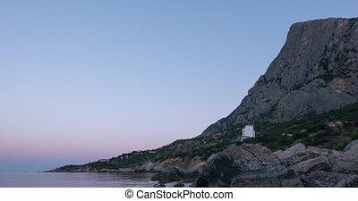 Mount Kush-Kaya, Laspi Bay, Crimea. Fixed distortion. Time Lapse