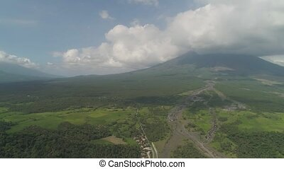 Mount Mayon vulcano, Philippines, Luzon - Aerial view mount...