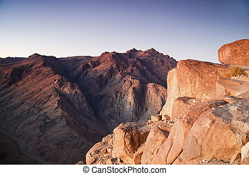 Mount Moses and Saint Catherine in Sinai Peninsula - View at...