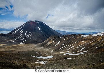Mount Ngauruhoe and Mount Tongariro, Tongariro National Park, New Zealand