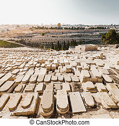 Mount of Olives and the old Jewish cemetery in Jerusalem, Israel