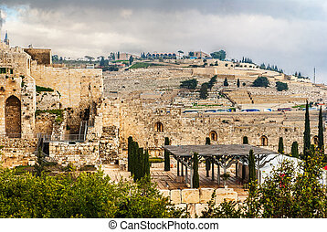 Mount of Olives in the Jerusalem - Rebuilt ruins outside the...