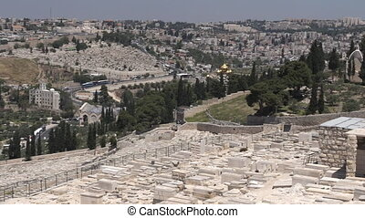 Mount of Olives Jewish Cemetery and Jerusalem old city Israel