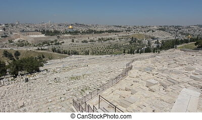 Mount of Olives Jewish Cemetery with Jerusalem old city skyline, Israel