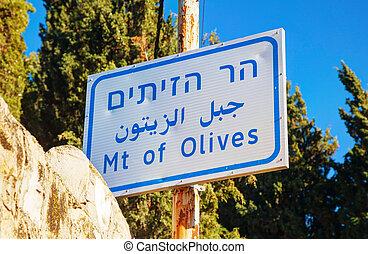 Mount of Olives sign in Jerusalem
