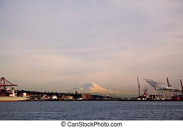 Mount Rainier and Port of Seattle