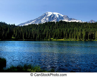 Mt. Rainier - Mount Rainier peak and lake in the Mt. Rainier...