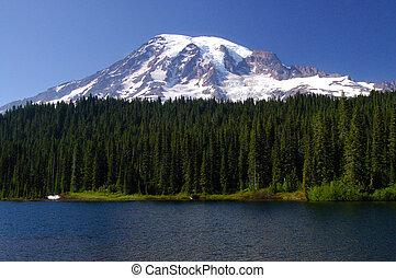 Mount Rainier Portrait - A beautiful 3 layered portrait of...