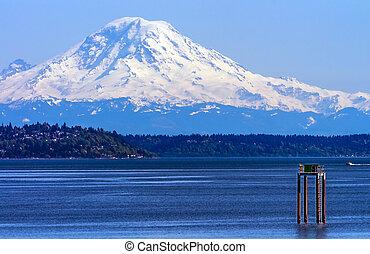 Mount Rainier Puget Sound North Seattle Snow Mountain ...
