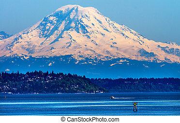 Mount Rainier Puget Sound North Seattle Snow Mountain Channel Marker Washington State Pacific Northwest