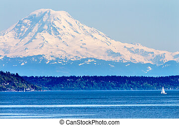 Mount Rainier Puget Sound North Seattle Snow Mountain ...