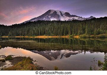 Mount Rainier reflection - Mount Rainier reflected across...