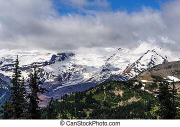 Mount Rainier shrouded in Clouds