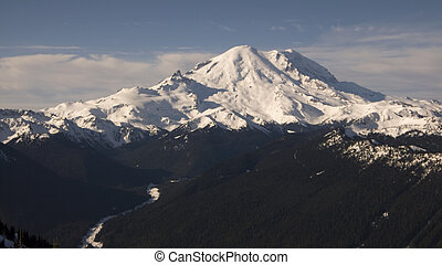 Panoramic view of Mount Rainier and nearby peaks of the Cascade mountain range.