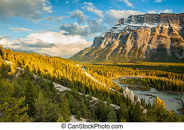 Mount Rundle and the hoodoos in Banff National Park,...