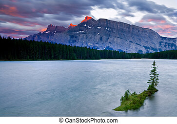 Mount Rundle and Two Jack Lake, Banff National Park,...