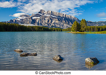 Mount Rundle and Two Jacks Lake in Banff National Park,...